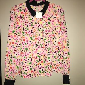 Kate Spade blouse with black collar and cuff